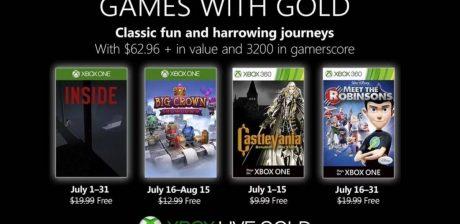 Anunciados los juegos de Games With Gold de julio para Xbox One